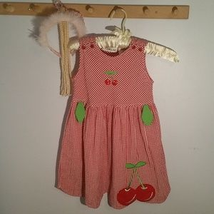 Youngland Size 5 Red Gingham Cherry Pattern Dress